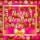 Carte de voeux heureuse de jour du `s de valentine Illustration brillamment colorée Conception de typographie pour les cartes de  Photos stock
