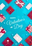 Carte de voeux heureuse de jour du `s de valentine Vue supérieure sur des boîte-cadeau dans l'emballage différent, lucette de suc illustration de vecteur
