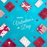 Carte de voeux heureuse de jour du `s de valentine Vue supérieure sur des boîte-cadeau dans l'emballage différent, sucrerie sous  illustration de vecteur