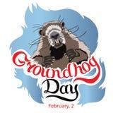 Carte de voeux heureuse de jour de Groundhog avec le lettrage tiré par la main illustration libre de droits