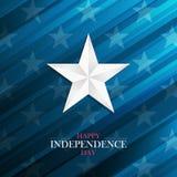 Carte de voeux heureuse de Jour de la Déclaration d'Indépendance des Etats-Unis avec l'étoile argentée sur le fond bleu 4ème des  illustration libre de droits