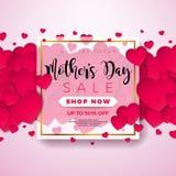 Carte de voeux heureuse de jour de mères avec le foyer sur le fond rose Calibre d'illustration de célébration de vecteur avec illustration de vecteur