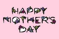 Carte de voeux heureuse de jour de mères avec le lettrage et les fleurs élégants Photos libres de droits