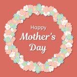 Carte de voeux heureuse de jour de mères Cadre rond ou une guirlande des fleurs et d'une inscription de félicitations Illustratio Image stock