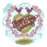 Carte de voeux heureuse de jour de Valentines Carte d'amour d'oiseau Rétro type illustration libre de droits