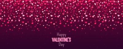 Carte de voeux heureuse de jour de Valentines Je t'aime 14 février Le fond de vacances avec des coeurs, lumière, se tient le prem images libres de droits