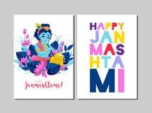 Carte de voeux heureuse de Krishna Janmashtami Célébration de Janmashtami illustration stock