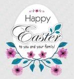 Carte de voeux heureuse de Pâques avec la fleur et l'oeuf de cerises Illustration de vecteur illustration libre de droits