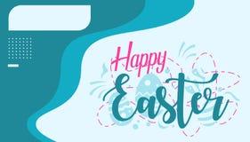 Carte de voeux heureuse de Pâques avec le nom de boîte et la couleur bleue illustration libre de droits
