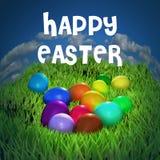 Carte de voeux heureuse de Pâques avec les oeufs et l'herbe, couleurs lumineuses, effets brillants Scintillement et beauté Photos libres de droits
