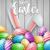 Carte de voeux heureuse de Pâques avec les oeufs, les fleurs et les oreilles colorés de lapin sur le fond en bois de mur illustration libre de droits