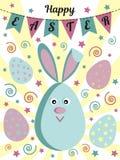 Carte de voeux heureuse de Pâques avec un lapin mignon ou des lièvres, des oeufs peints, des drapeaux et des étoiles Utilisable p Photographie stock