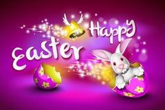 Carte de voeux heureuse de Pâques, un lapin drôle conduisant une coquille d'oeufs Image stock
