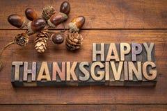 Carte de voeux heureuse de thanksgiving dans le type en bois Photos libres de droits