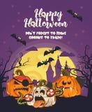 Carte de voeux heureuse de vecteur de Halloween avec les Jack-o-lanternes fantasmagoriques et la grande lune Images libres de droits