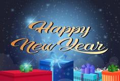 Carte de voeux horizontale de ciel nocturne de décoration de boîte-cadeau de concept de Joyeux Noël de bonne année de fond plat d illustration libre de droits