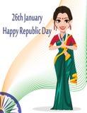 Carte de voeux indienne de jour de République avec la belle femme illustration de vecteur