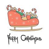 Carte de voeux de inscription tirée par la main mignonne de vecteur de Joyeux Noël avec le traîneau de bande dessinée illustration libre de droits
