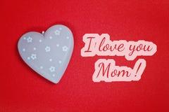 Carte de voeux - je t'aime maman Photographie stock