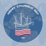 Carte de voeux de jour de Columbus Illustration de vecteur avec le voilier Photographie stock