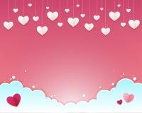 Carte de voeux de jour du ` s de Valentine Un boîte-cadeau avec des beaucoup style de papier en forme de coeur de métier d'art à  Photo libre de droits