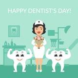 Carte de voeux Jour international de l'illustration de Festive de dentiste Docteur de dentiste avec un bouquet des fleurs Image libre de droits