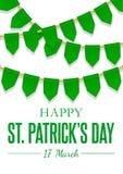 Carte de voeux de jour de St Patricks avec les drapeaux verts, guirlande accrochante Fond de vecteur National, culturel et religi illustration libre de droits