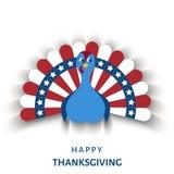 Carte de voeux de jour de thanksgiving des Etats-Unis avec l'oiseau de dinde de bande dessinée illustration libre de droits
