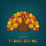 Carte de voeux de jour de thanksgiving des Etats-Unis avec la dinde colorée de bande dessinée illustration stock