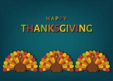 Carte de voeux de jour de thanksgiving des Etats-Unis avec la dinde mignonne colorée illustration libre de droits