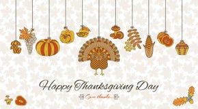 Carte de voeux de jour de thanksgiving Divers éléments pour la conception illustration de vecteur