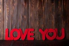 Carte de voeux de jour de valentines avec amour vous mots Images libres de droits