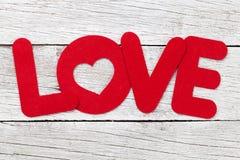 Carte de voeux de jour de valentines avec le mot d'amour Images libres de droits