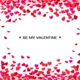 Carte de voeux de jour de valentines d'intrigue amoureuse Confettis et label de cadre de coeurs pour le texte Soyez mon invitatio Image libre de droits