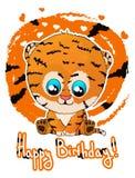 Carte de voeux de joyeux anniversaire avec l'petit animal de tigre mignon de bande dessinée illustration libre de droits