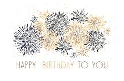 Carte de voeux de joyeux anniversaire avec la conception de lettrage Fond rouge de feux d'artifice d'or de scintillement illustration libre de droits