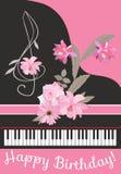 Carte de voeux de joyeux anniversaire avec le piano à queue de noir de concert, la clef triple florale, le ruban rose et le bouqu illustration stock