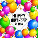 Carte de voeux de joyeux anniversaire Groupe de ballons et de confettis colorés Lettrage élégant sur le fond Vecteur illustration de vecteur