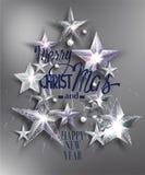 Carte de voeux de Joyeux Noël avec des étoiles Image stock