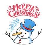 Carte de voeux de Joyeux Noël avec le bonhomme de neige drôle illustration libre de droits