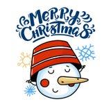 Carte de voeux de Joyeux Noël avec le bonhomme de neige drôle illustration de vecteur