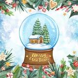Carte de voeux de Joyeux Noël avec le globe en cristal de neige, la maison, les branches et le lettrage calligraphique illustration libre de droits