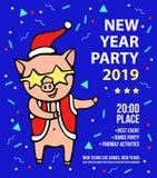 Carte de voeux de Joyeux Noël avec le porc en vêtements d'une Santa, chapeau rouge et verres d'étoile 2019 ans du PORC Noël illustration libre de droits