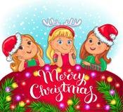 Carte de voeux de Joyeux Noël avec les enfants mignons illustration stock