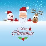 Carte de voeux de Joyeux Noël avec Noël Santa Claus Photos stock