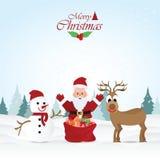 Carte de voeux de Joyeux Noël avec Noël Santa Claus Photographie stock