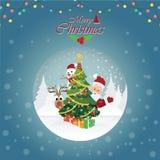 Carte de voeux de Joyeux Noël avec Noël Santa Claus 4 Photo libre de droits
