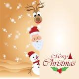 Carte de voeux de Joyeux Noël avec Noël Santa Claus 5 Image stock