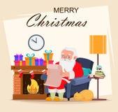 Carte de voeux de Joyeux Noël avec Santa Claus illustration libre de droits