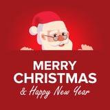 Carte de voeux de Joyeux Noël avec Santa Claus Vector Place pour le texte Calibre de conception de brochure Décoration de vacance Image stock